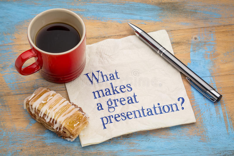 What makes a great presentation? royalty free stock photos