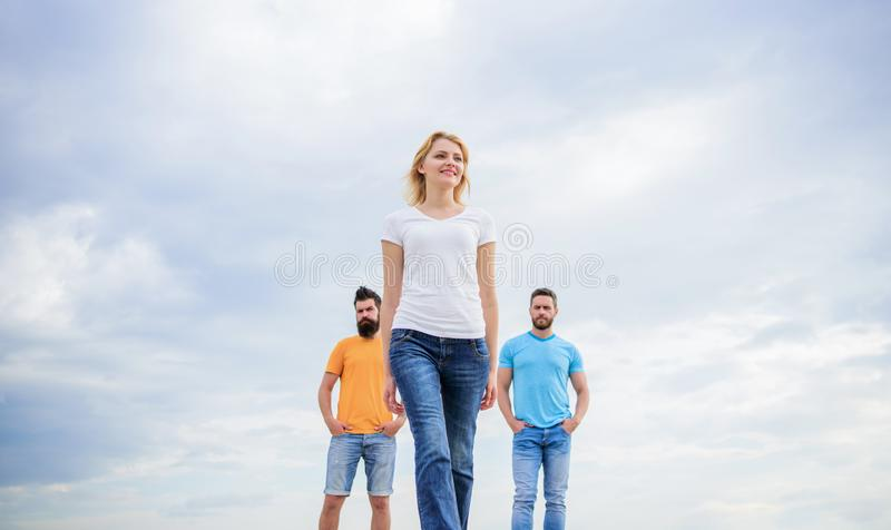 What makes successful female leader. Girl leader qualities possess naturally. Leadership concept. Woman in front of men. Feel confident. Influential women royalty free stock photo