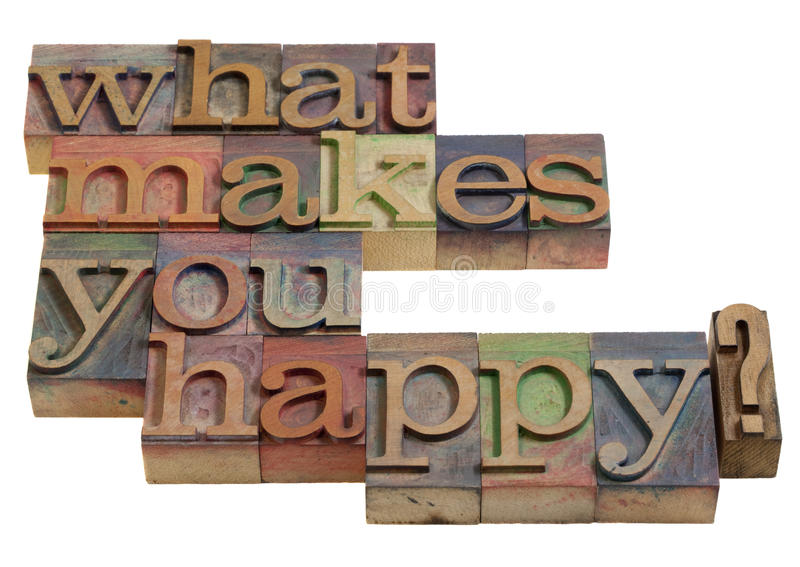 Download What makes you happy? stock image. Image of vintage, letterpress - 15996689