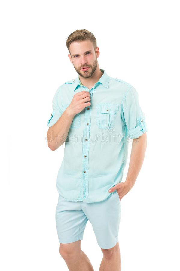 What man should wear first date. Man bearded macho prepare clothes for date. Casual comfortable style. Fresh shirt. Concept. Style inspiration and advice stock photo