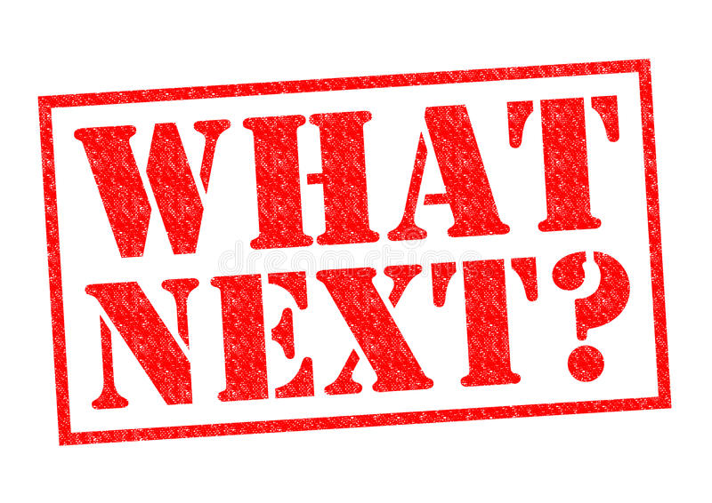 WHAT NEXT?. Red Rubber Stamp over a white background stock illustration