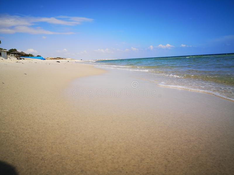 What a nice warm and clean sea in Tunisia stock photo