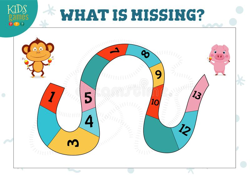 What number is missing preschool kids activity and educational game stock illustration