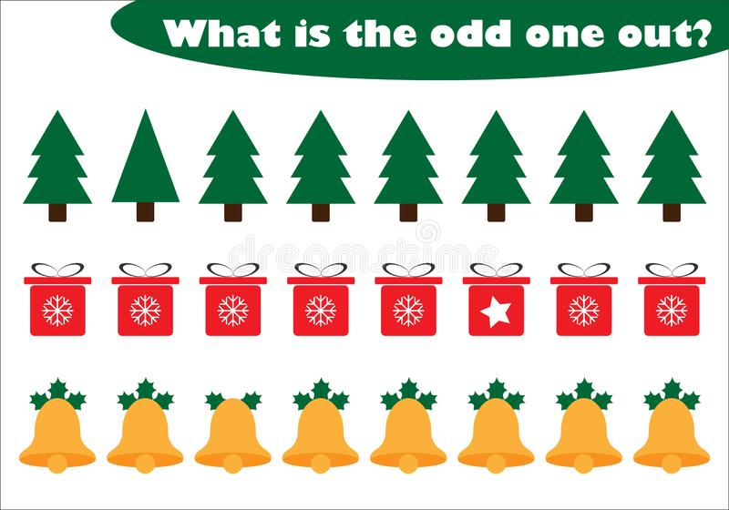 What is the odd one out for children, christmas theme in cartoon style, fun education game for kids, preschool worksheet activity. Task for the development of royalty free illustration