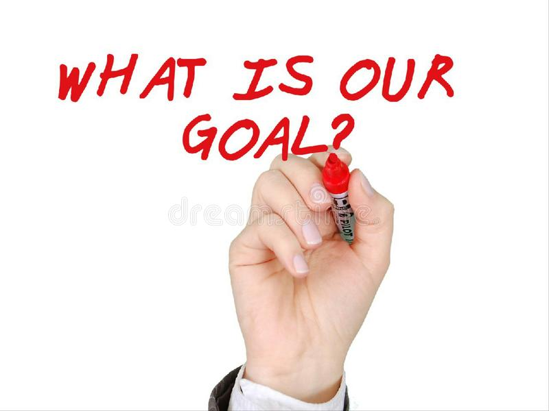 What is our goal hand write with red marker stock images