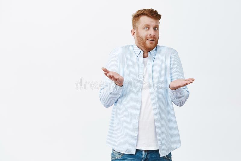 So what. Portrait of confused unaware good-looking redhead male with bristle, shrugging with raised palms staring. Uncertain over gray background, having no royalty free stock image