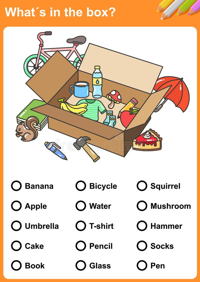What´s in the wardrobe? Draw a circle around each thing.What´s in the box? Find the objects. - Worksheet for education. stock illustration