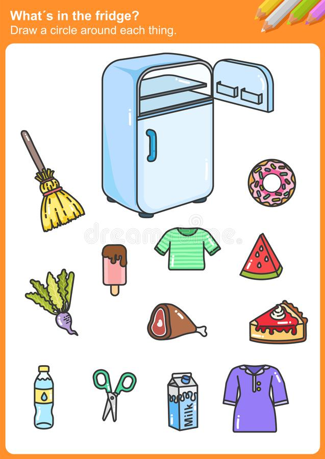 What´s in the fridge? Draw a circle around each thing. Worksheet for education stock illustration