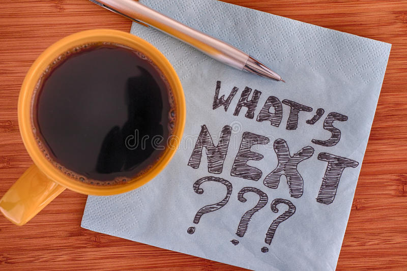 What`s next? Handwriting on a napkin. Close up royalty free stock photo