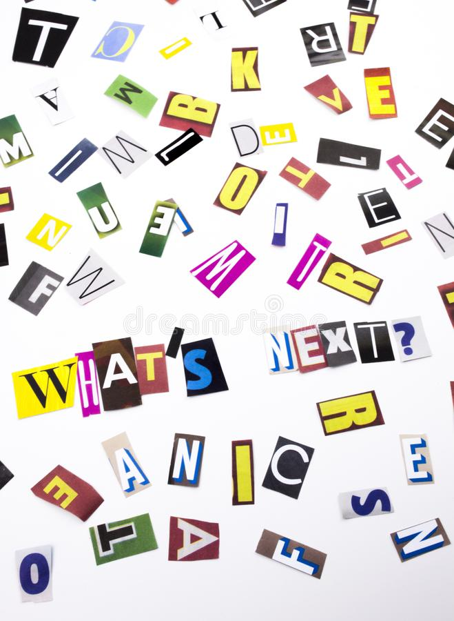 What`s Next question made of different magazine newspaper letter for Business case on the. Wha`s Next question made of different magazine newspaper letter for royalty free stock images