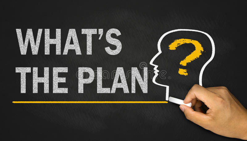 what's the plan ? stock image
