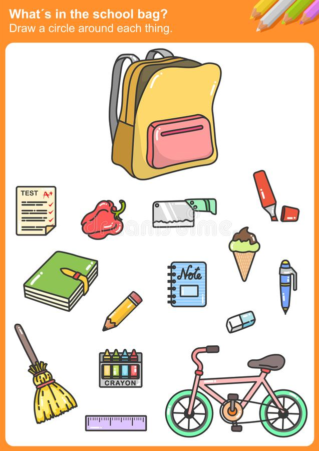 What´s in the school bag? Draw a circle around each thing. Worksheet for education vector illustration