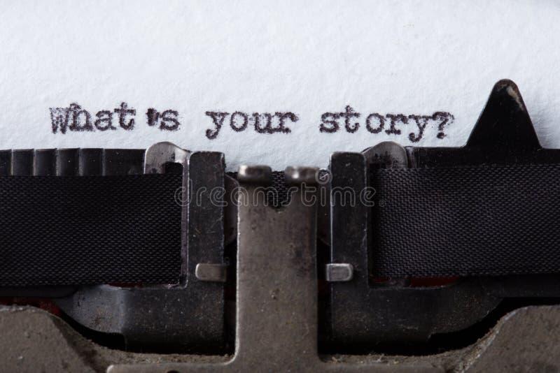 What& x27; s su historia - texto impreso en una máquina de escribir vieja imagen de archivo