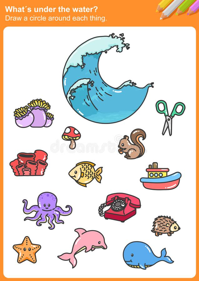 What´s under the water? Draw a circle around each thing. Worksheet for education vector illustration