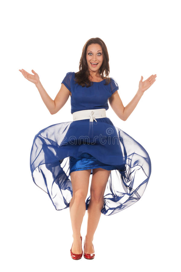 What's up?. Woman in evening gown is pleased to see you stock images