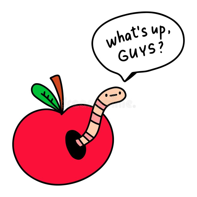 Free What`s Up Guys Saying Worm Inside Apple Hand Drawn Illustration With Speech Bubble Stock Photography - 160360722