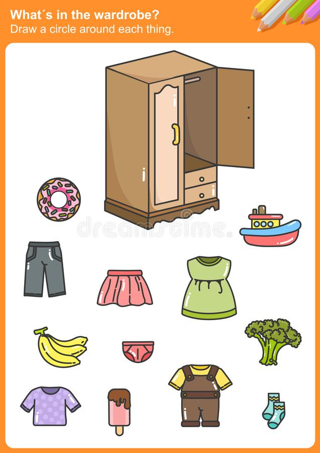 What´s in the wardrobe? Draw a circle around each thing. What´s in the wardrobe? Draw a circle around each thing. - Worksheet for education vector illustration