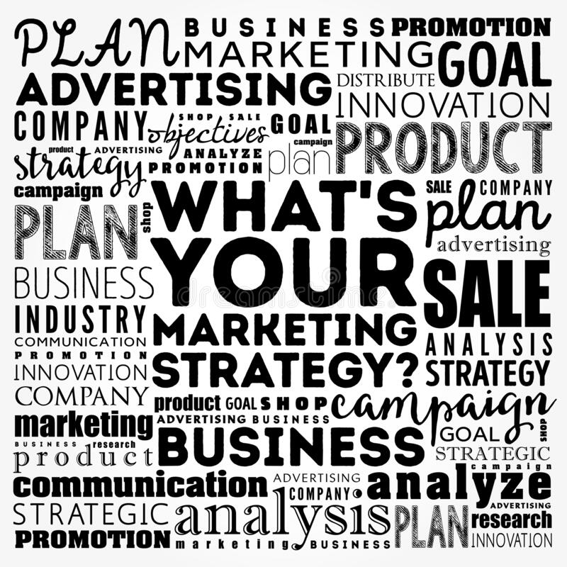 Free What`s Your Marketing Strategy Word Cloud Collage, Business Concept Background Royalty Free Stock Images - 194494199