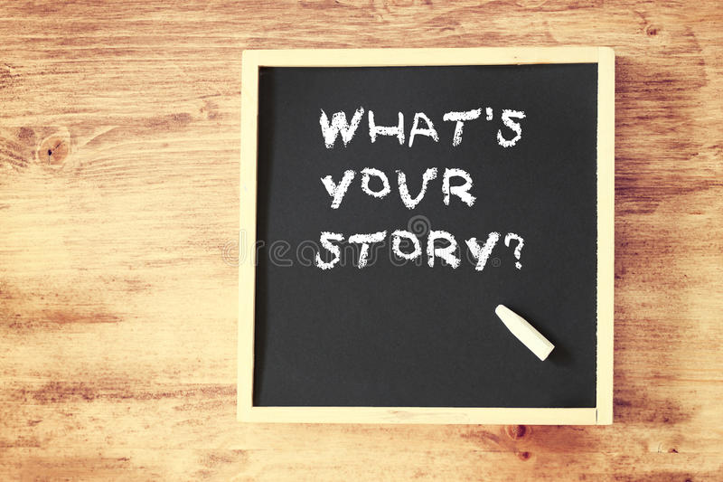 What's your story concept written on blackboard stock image