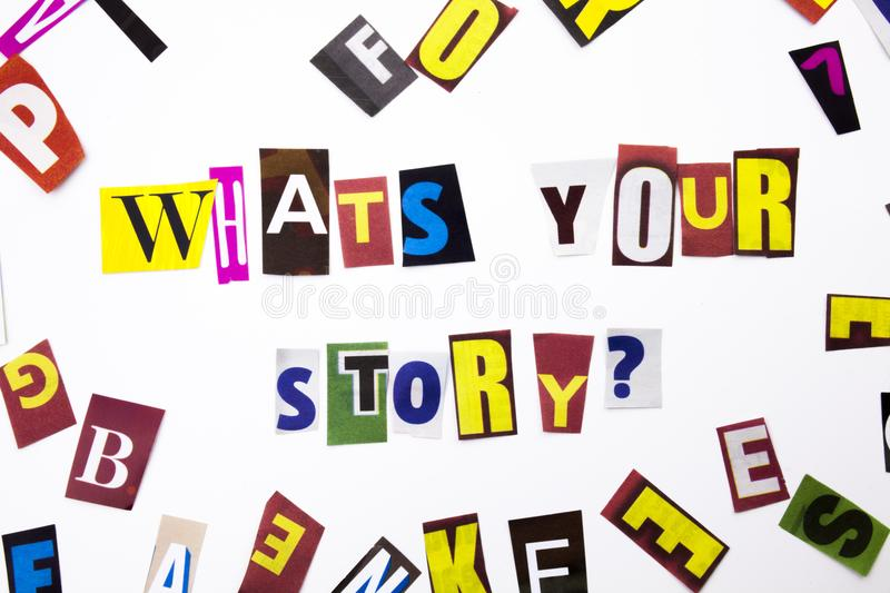 What`s your story question made of different magazine newspaper letter for Business case o. N the white background with space royalty free stock photography