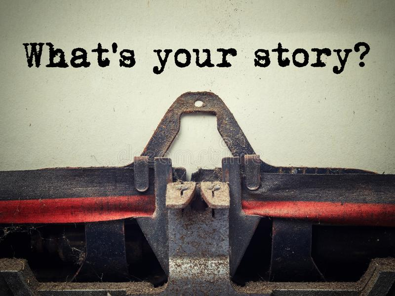 What`s your story vintage typewriter closeup stock photo