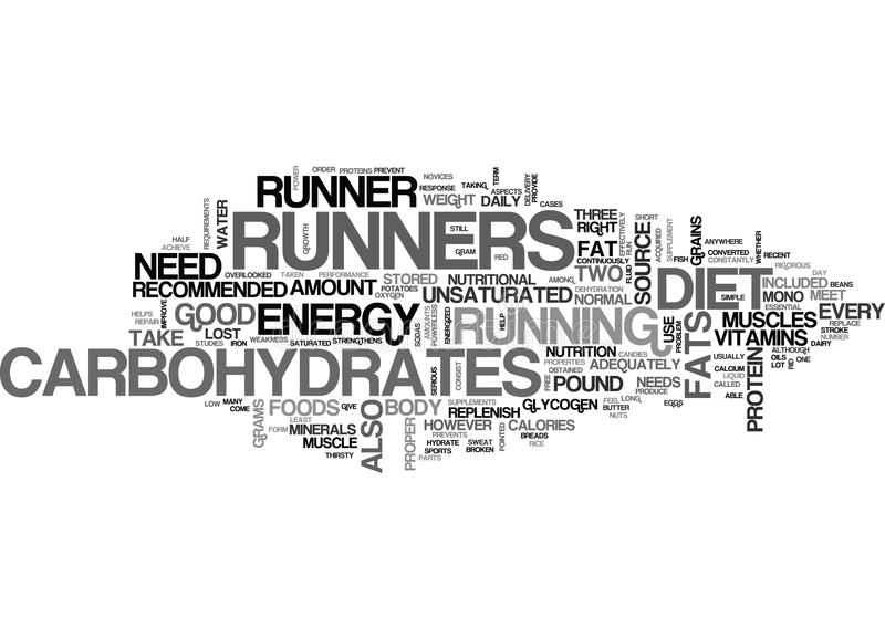 What Should Be In A Runners Diet Word Cloud stock illustration
