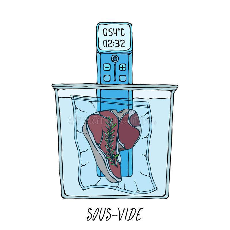 What is Sous-Vide. Slow Cooking Technology. Perfect Tender Juicy Meat Steak. Vacuumizer Food Sealer. Chief Cuisine stock illustration