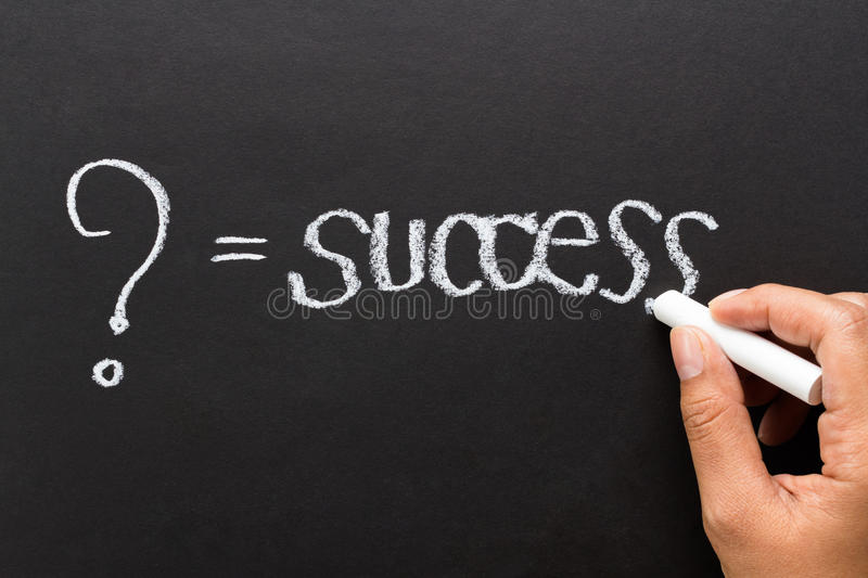 What is success. In your opinion, message concept written by chalk stock images