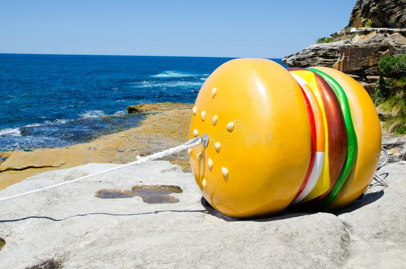 ` What a Tasty Looking Burger ` is a sculptural artwork by James Dive at the Sculpture by the Sea annual events free to the public. SYDNEY, AUSTRALIA. – stock images