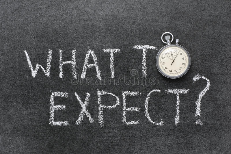What to expect. Question handwritten on chalkboard with vintage precise stopwatch used instead of O stock images