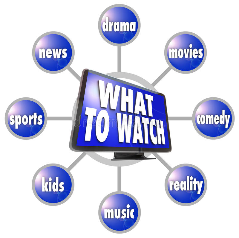 What to Watch HDTV Program Suggestions Ideas Guide. A grid of television programming suggestions surrounding a picture of an HDTV -- sports, news, movies, drama stock illustration