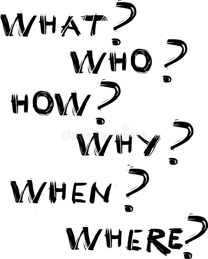 What, who, how, why when and where questions stock illustration