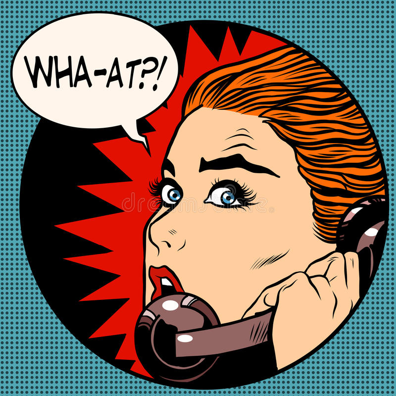 What a woman speaks on the phone. Pop art retro style. Question. Unexpected news, gossips. Communication and technology stock illustration