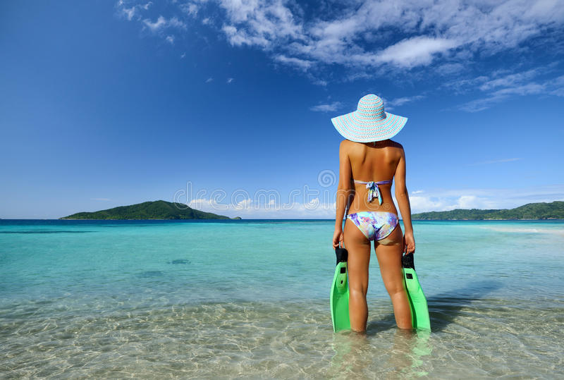 What a wonderful beach with crystal clear waters and islands II stock photo