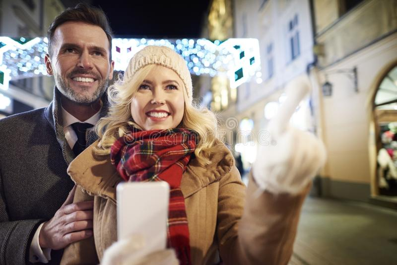 Happy couple during winter time royalty free stock images