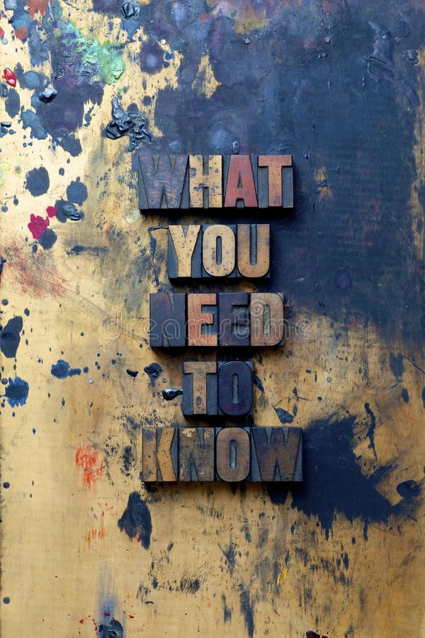 What you need to know. The words What you need to know written in very old and well used letterpress type royalty free stock images
