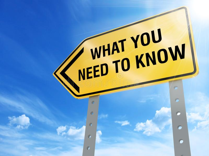 What you need to know sign. On blue sky background,3d rendered stock illustration
