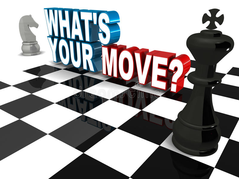 What is your move. Words with chess elements. concept of strategic business decisions royalty free illustration