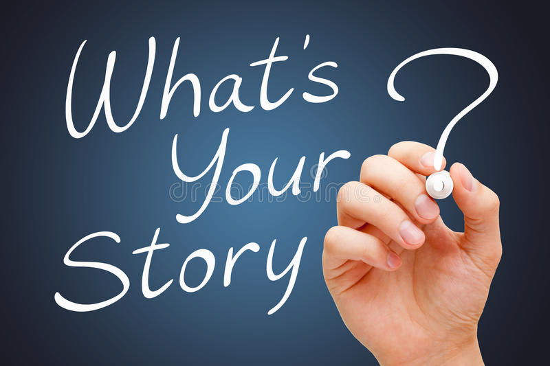What Is Your Story Handwritten With White Marker. Hand writing What Is Your Story with white marker over dark background royalty free stock image