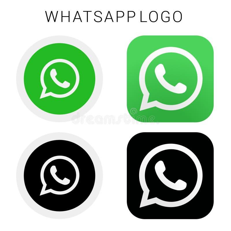 WhataApp ikony logo z czarnym, bielem & wektorową kartoteką obrazy royalty free