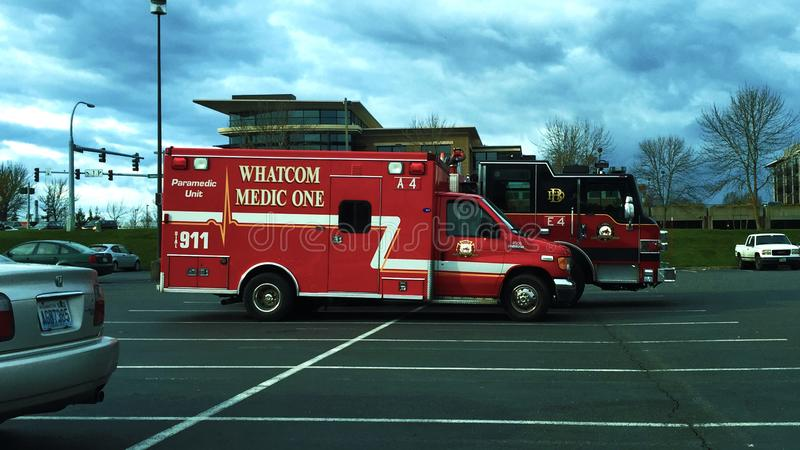 Whatcom Medic One A4 w/ Bellingham FD E4 royalty free stock photos