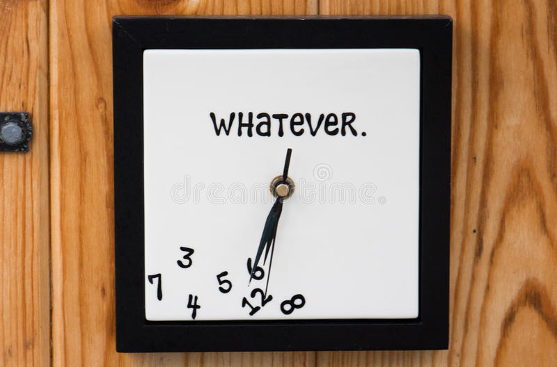 Whatever clock. Funny clock with whatever time stock image