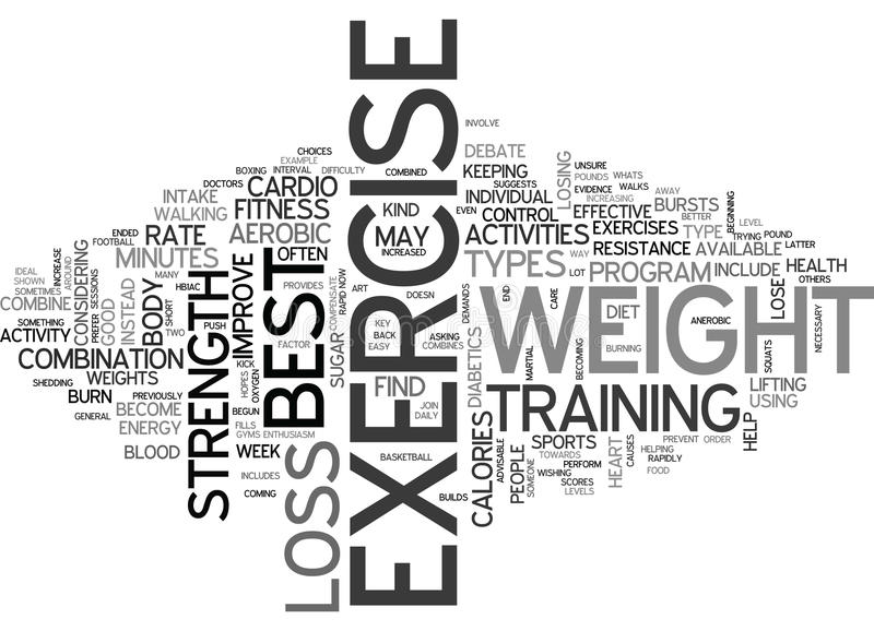 Whats The Best Exercise For Weight Loss Word Cloud vector illustration