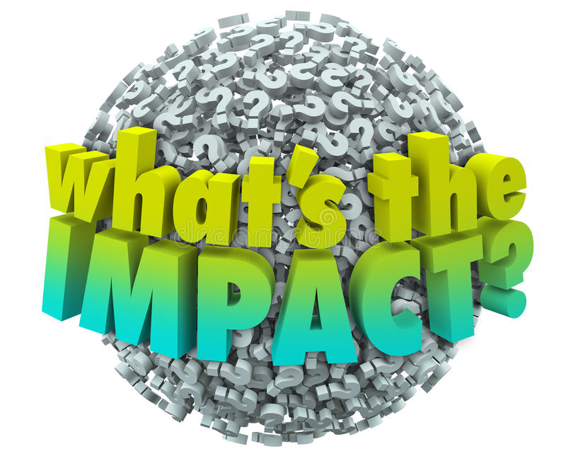 Whats the Impact Question Marks Effect Consequence Result Outcome. Whats the Impact words on a ball or sphere of question marks asking what the outcome, result vector illustration