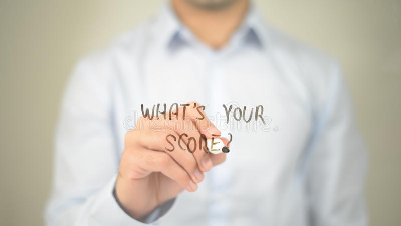 Whats Your Score ?, man writing on transparent screen stock image