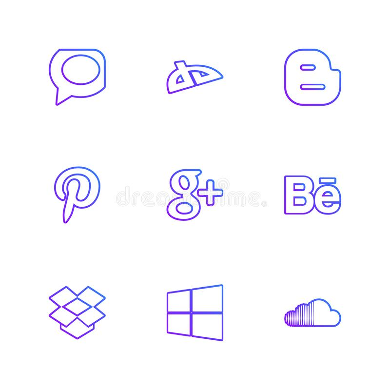 Social media eps icons set vector. Whatsapp , blogger , pintrest , google plus , behance , dropbox ,windows , soundcloud , social , media , social media, icon vector illustration