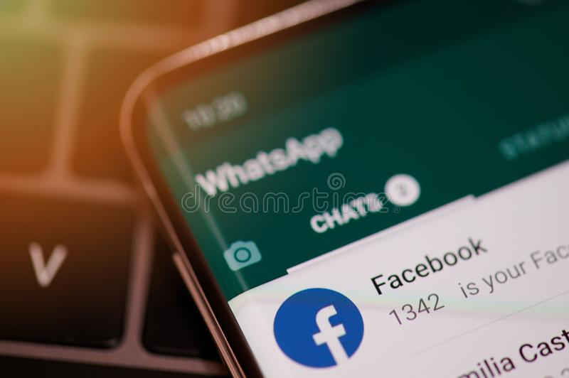 Whatsapp chat with facebook stock images