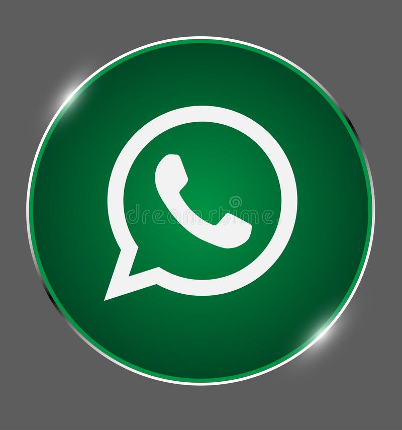 Whatsapp guzik, ogólnospołeczni środki, komunikuje, gawędzi, loga w połysku medalu wektorze royalty ilustracja
