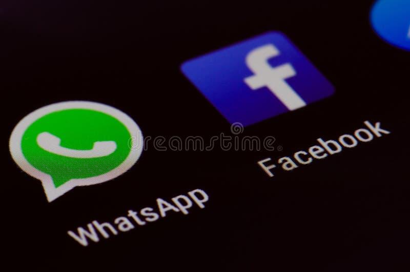 WhatsApp i Facebook obraz royalty free