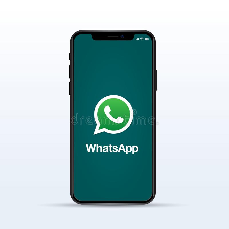 Whatsapp logo on Iphone screen on white isolated background. stock image